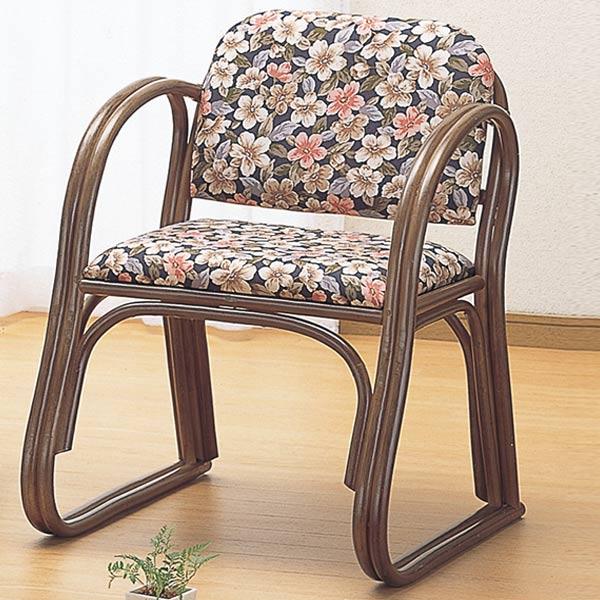 ラタンチェア ハイタイプ 座椅子 クッション付 籐家具 座面高43cm(送料無料 一人掛け ソファ 背もたれ付き 肘付き 肘掛 イス チェア 座いす アジアン 一人用 ) 【39ショップ】