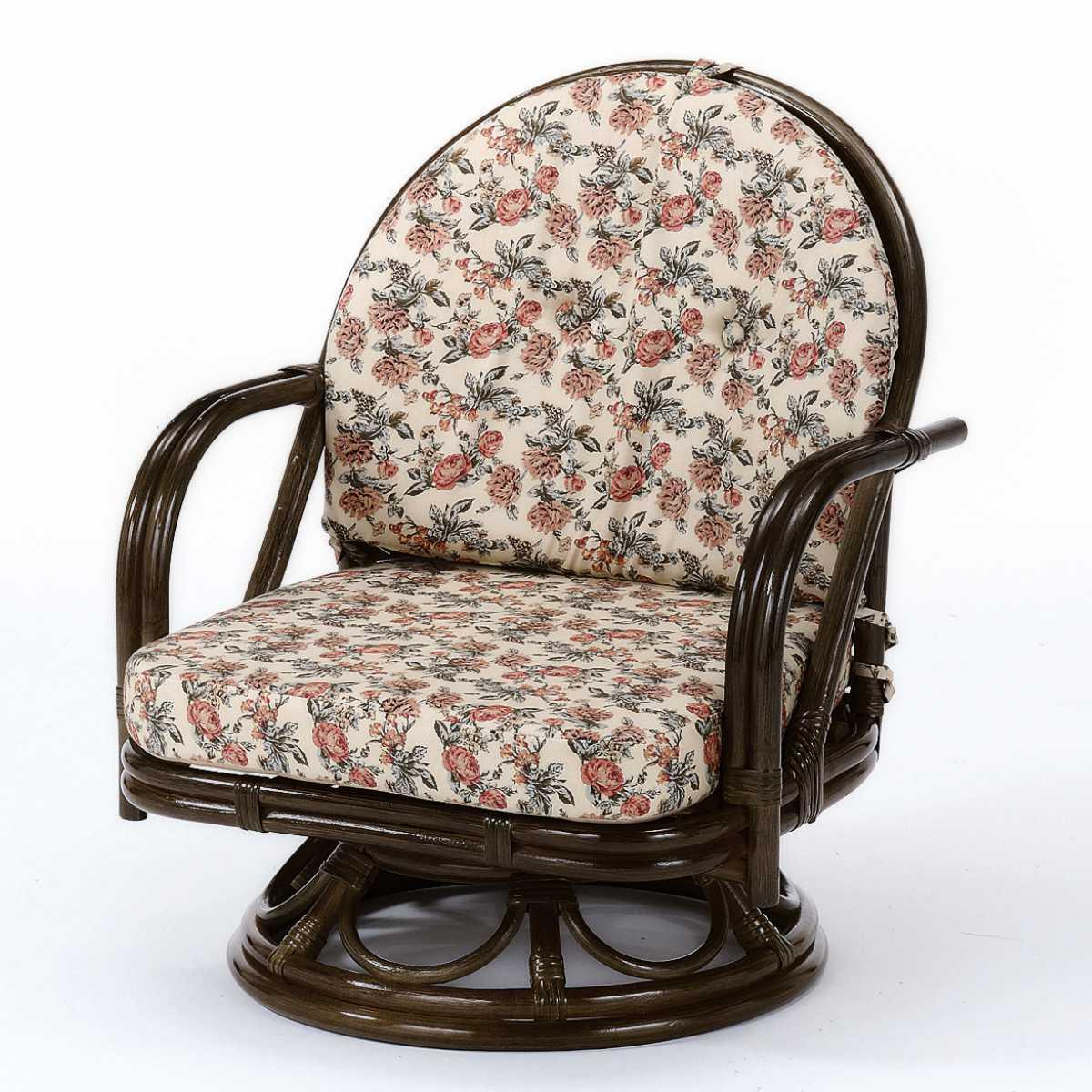 籐(ラタン) 回転座椅子 ミドルタイプ 【S252B】 送料無料 【5000円以上送料無料】