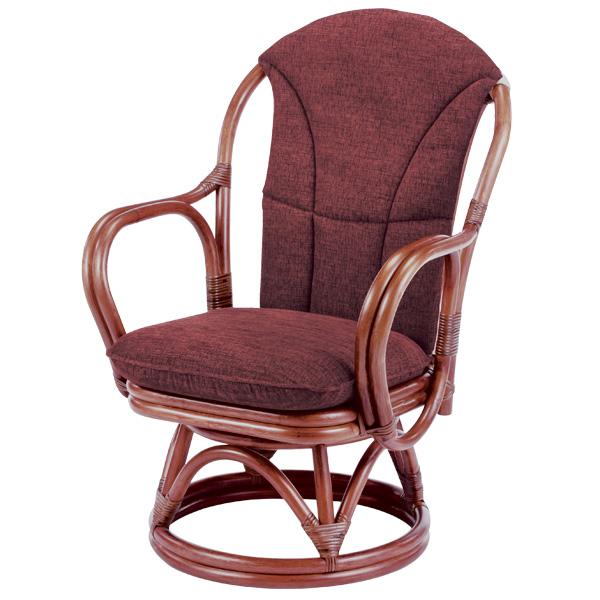 ラタンチェア 回転座椅子 背もたれクッション付 シィーベルチェア 座面高38cm ( 送料無料 ラタン家具 アジアン家具 チェア 座椅子 シーベルチェア シィーベルチェアー 座いす 椅子 イス 手編み ) 【5000円以上送料無料】