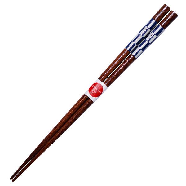 箸 陶器柄 ジャパニーズスタイル 市松 23cm ( 日本製 和柄 お箸 木製 カトラリー 若狭 )