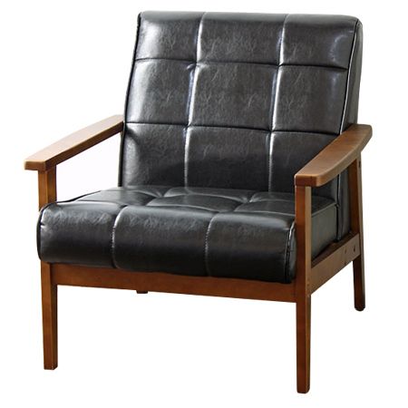 Sofa Chairs Retro Wood Frame Solo Seat With Leather 1 Chair Nostalgic Mid Century Vintage Furniture Like