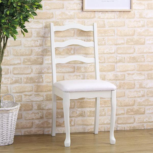 デスクチェア 木製 椅子 アンティーク調 姫系 座面高48.5cm ( 送料無料 チェア イス 椅子 チェアー いす ダイニングチェア 猫脚 ダイニングチェアー 肘なし 白家具 )【39ショップ】