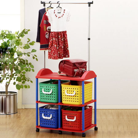 With Pipe Hanger 4 Kids Storage Baskets (bag Rack Toy Boxes Childrenu0027s  Drawer Trundle Clothes Hanging Plastic Storage Box Hanger Rack) 05P05Sep15