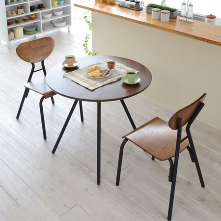 Table Chairs 3 Point Set Cafe Vintage Dining Table ( Iron Circular Rounded  Steel Desks Desk Coffee Table Two Chairs Chair PC Chair Retro Brown )  P25Jan15