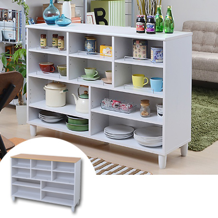 Kitchen Counter Parion Width 120 Cm White Storage Display Rack Double Sided Shelves Shelf Cabinet