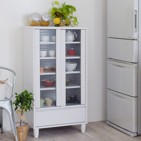 Kitchen Storage Gl Doors With Cabinet Width 60 Cm Tableware Shelf White Low Type Back Makeup Parion Furniture Cupboard Drawer