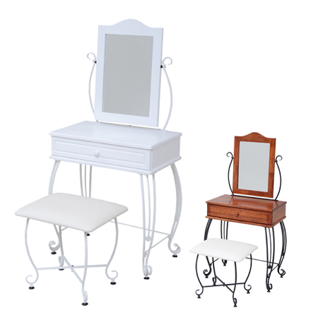 Dresser Mirror Stool Vanity Iron Series (Chair Table Dressing Table Chair  Chair Desk Princess Series Retro Black And White Antique)