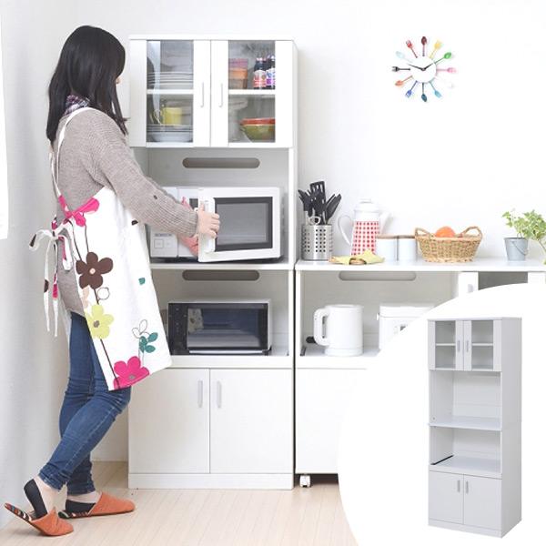 最新発見 レンジボード 収納 戸棚 キッチン収納 ) SIM 約幅60cm ( 送料無料 キッチン収納 レンジ台 カップボード 食器棚 ホワイト 炊飯器 電気ポット 収納 ), ルコリエ:af87341d --- gamedomination.xyz