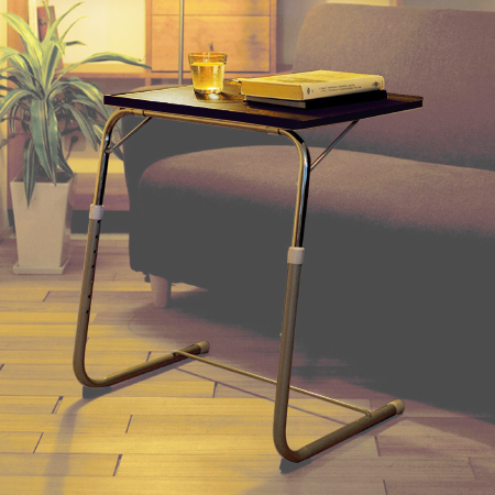 Folding Side Table Brown Adjustable ( Folding Side Table Folding Desk  Computer Desk Sofa Table ) P25Jan15