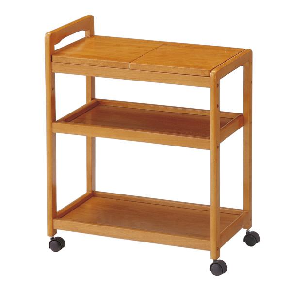 キッチンワゴン キャスター付 木製ワゴン 天板2分割式 長さ59cm ( 送料無料 キッチン 収納 天然木 天板取り外し ポット 3段 台所 ナチュラル ワゴン )
