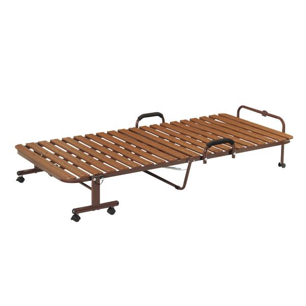 折りたたみベッド シングル 幅97cm 樹脂すのこ 手すり付き 折り畳み ベッド ( 送料無料 すのこ 折りたたみ シングルベッド 折りたたみベット すのこベッド キャスター 通気性 湿気対策 介護 簡易ベッド 折り畳みベッド )【39ショップ】