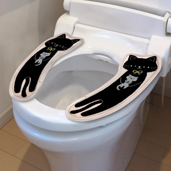 シンプルで可愛いねこの便座シート 安全 便座シート ねこのミミッツ 便座カバー 貼る キャラクター かわいい 吸着 便座 共通 トイレ用品 置くだけ 節電 送料無料 一部地域を除く 39ショップ ねこ 黒猫 お尻が痛くならない 便座マット 貼ってはがせる