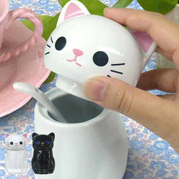 Tail Spoon With A Sugar Pot Sugar Pot Cat (sugar And Granulated Sugar Case  Condiment Containers Sugar Case Sugar Sugar Container Seasoning Burdens Cat  Black ...