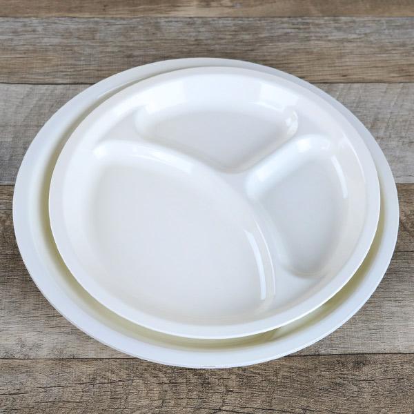 ランチプレート 27cm クリーンコート L ホワイト 洋食器 樹脂製 日本製 同色5枚セット (  皿 食器 器 お皿 電子レンジ対応 食洗機対応 平皿 中皿 白 仕切り 食洗機可 プラスチック 製 )
