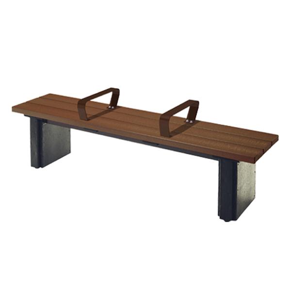 木調ベンチ 再生樹脂製 手すり付 背なし 1.8m ブラウン 3人掛け ( 送料無料 長椅子 屋内 屋外 ) 【5000円以上送料無料】
