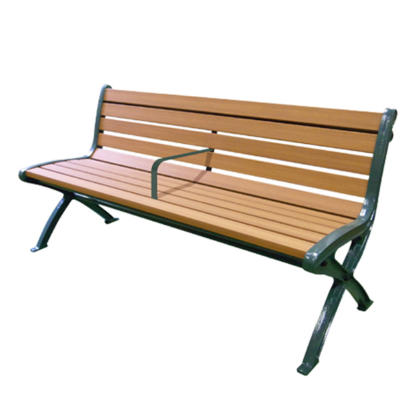 美品  ) 屋外 長椅子 屋内 ( 送料無料 木調ベンチ 再生樹脂製 手すり付 肘なし 1.5m ライトブラウン 2人掛け 【5000円以上送料無料】:インテリアパレット-エクステリア・ガーデンファニチャー