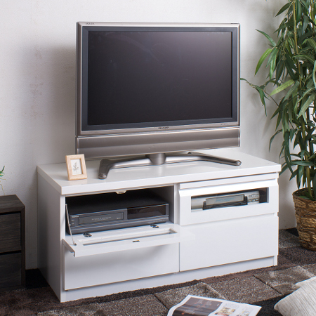 Tv Board Gloss And White 100 Cm Av Storage Snack Make Stand Units Rack Lowboard Wood Medium 32 Inch 37 40 Drawer Flap