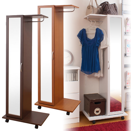 Beau With Mirror Hanger Rack (stand Mirror Mirror Closet Coat Hanger With  Casters Mirror Storage Shelf With Door) P25Jan15