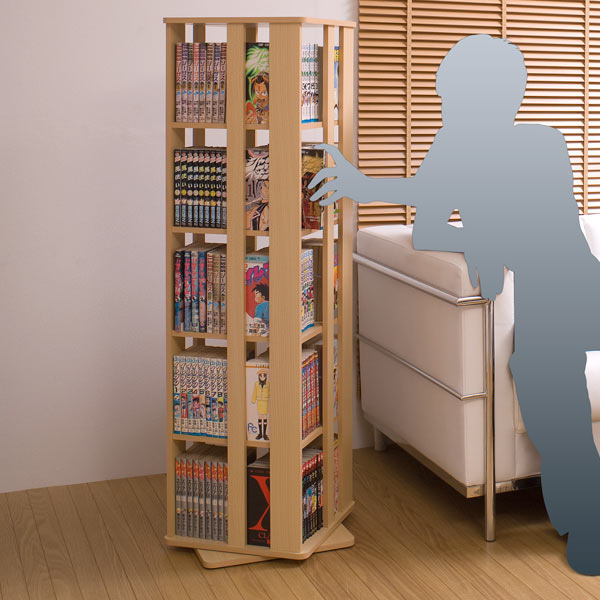 Rotating comic rack 5-stage ( CD DVD comic book comic books sentence  Kuramoto Bookshelf rotating Bookshelf space )