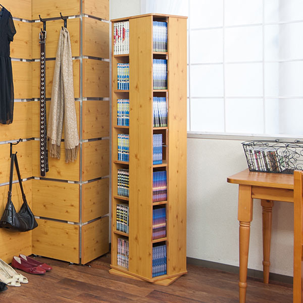 Bookshelf Rotating Comic Book Racks Blend Country 7 Stage Height 166 Cm Style Storage Shelves Swivel CD DVD Books Bookcase Space Comics