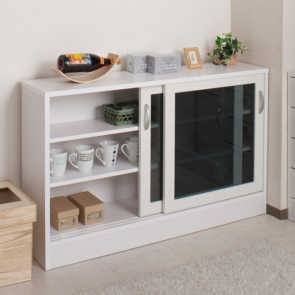 Counter Bottom Storage Glass Sliding Door Cabinet Width 113.5 X 71 Cm  (chest Kitchen Living Room Storage)