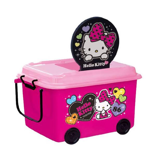 おもちゃ箱 収納ボックス ハローキティ ふた キャスター付き ( おもちゃ 収納 収納ケース 車輪付き ふた付き おもちゃ入れ 積み重ね スタッキング 箱 お片付け 子供部屋 キティ )【5000円以上】