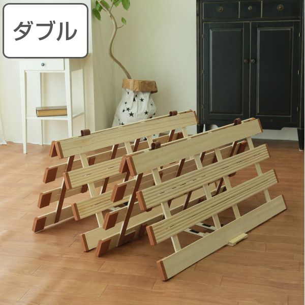 すのこベッド 薄型 折りたたみ すのこマット 桐製 軽量タイプ 4つ折れ式 ダブル ( 送料無料 スノコベッド スノコマット 桐 すのこ 四つ折り 折りたたみベッド 木製 折りたたみすのこ ベッド )【39ショップ】