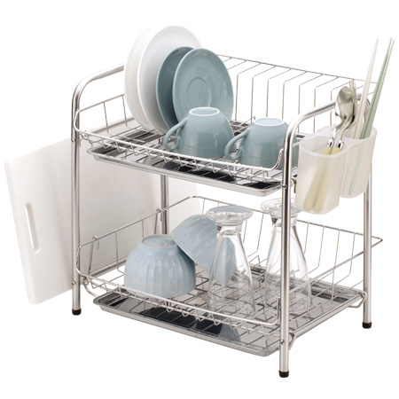 Dish drainer rack Dish drainer basket 2-stage type actor stainless (draining basket drain tray dish rack drainer basket draining set kitchen utensils) ...  sc 1 st  Rakuten & interior-palette | Rakuten Global Market: Dish drainer rack Dish ...