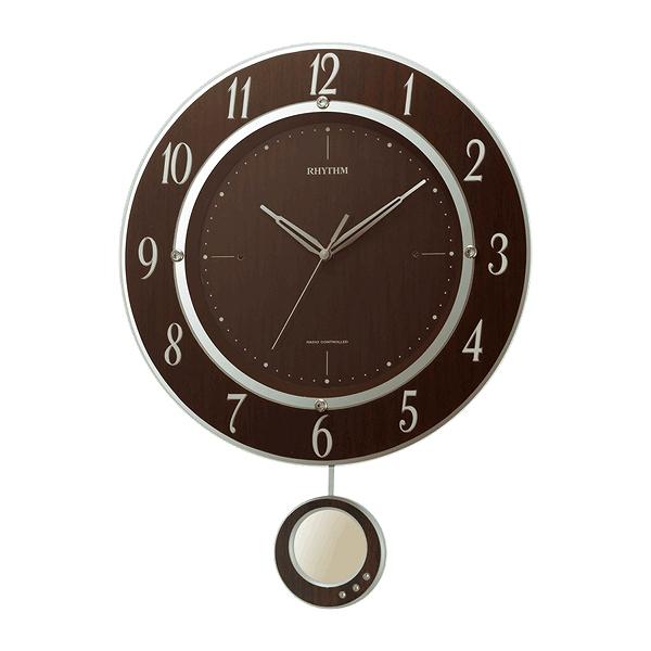 ゆったりと動く振り子とエレガントなデザインがお洒落な電波時計 振り子時計 電波時計 木目調 トライメテオ 連続秒針 時計 お得 掛け時計 送料無料 インテリア 掛時計 夜間秒針停止機能 ウォールクロック シンプル 新品未使用 おしゃれ クロック 壁掛け時計 39ショップ