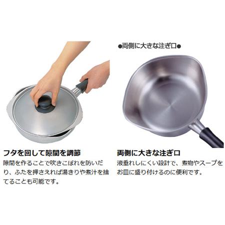 柳宗理 片手鍋 18cm ステンレスアルミ三層鋼 ツヤ消しタイプ フタ付き IH対応 (  ふた付き 調理器具 )