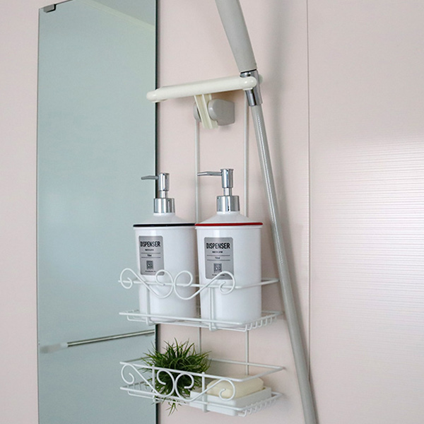 Shower Rack Double With Holder Bonheur Soap Dish Shampoo Racks Bathroom Storage Bath Head Bus Supplies Goods
