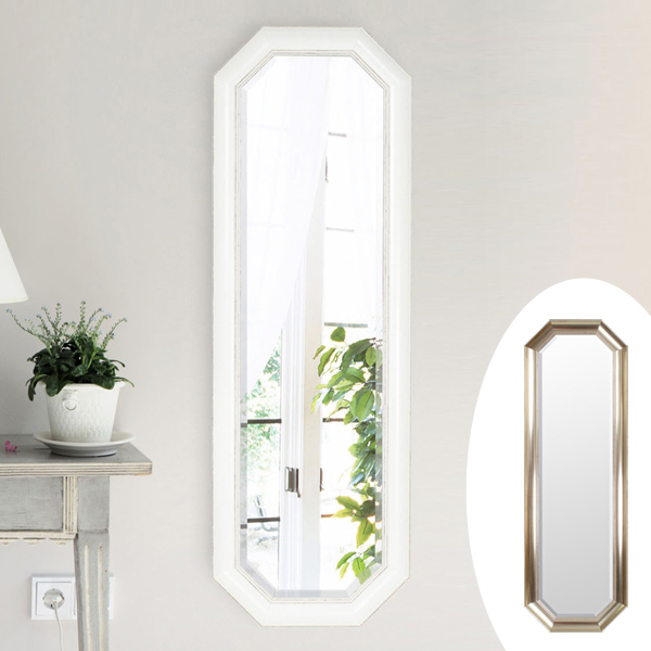 ウォールミラー 壁掛けミラー シャビー調 高さ120cm ( 送料無料 壁掛け ミラー 鏡 姿見 吊り鏡 壁掛け鏡 日本製 国産 完成品 八角形 ゴールド ホワイト 120cm 120 )【39ショップ】