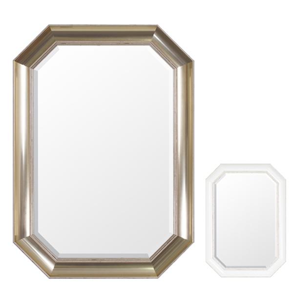 ウォールミラー 壁掛けミラー シャビー調 高さ70cm ( 送料無料 壁掛け ミラー 鏡 姿見 吊り鏡 壁掛け鏡 日本製 国産 完成品 八角形 ゴールド ホワイト 70cm 70 )【5000円以上送料無料】