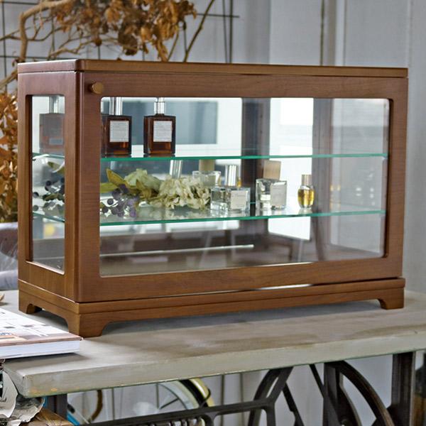 コレクションを美しく魅せる卓上サイズのミラー付きガラスケース コレクションケース ガラスケース 背面ミラー 幅60.5cm ( 送料無料 ガラスキャビネット ディスプレイラック 飾り棚 完成品 収納 収納ラック ショーケース ディスプレイ ミラー付き 北欧 コンパクト インテリア おしゃれ )【39ショップ】