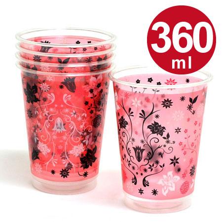 クリアカップ アンティークフラワー ピーチピンク 360ml 5個入 ( プラカップ 使い捨てコップ 使い捨て容器 かわいい カクテル 紙コップ )