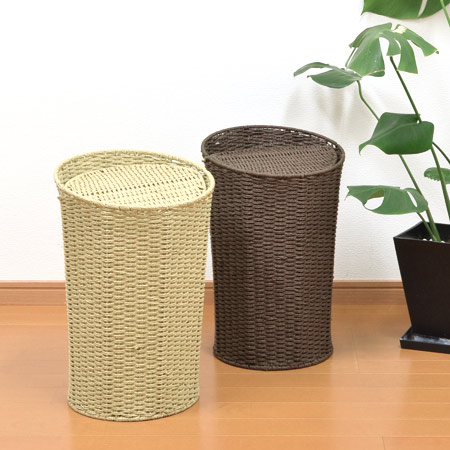 Trash Bin Dust Box Paper Basket With Lid Recycle Wastebasket Swing Asian Put Rubbish Natural