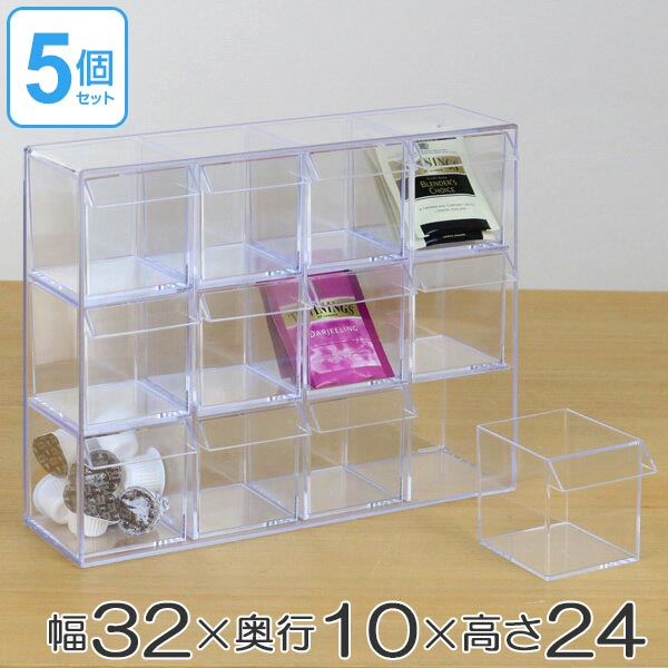 小物入れ 引き出し ミニ プラスチック クリア 卓上 透明 収納 3段×4列 デスコシリーズ 5個セット ( 送料無料 小物収納 小物ケース コレクションケース ケース コレクションボックス 日本製 )【39ショップ】