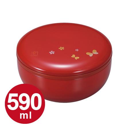 撒盒饭午餐盒HAKOYA圆形2段圆红蝴蝶590ml(有皮带)