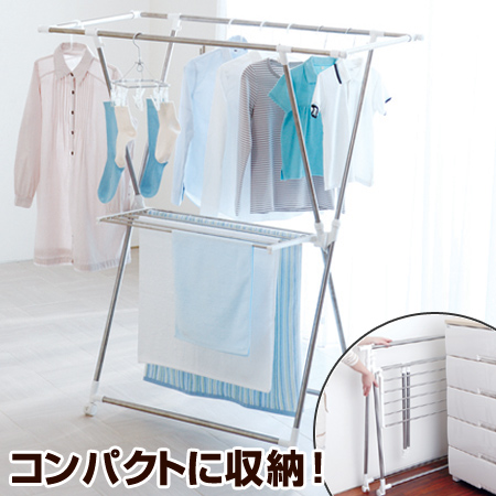 Drying Stand Washing Telescoping Indoor Clothesline X Porish Stainless Steel Casters With Room For Clothes Folding Laundry