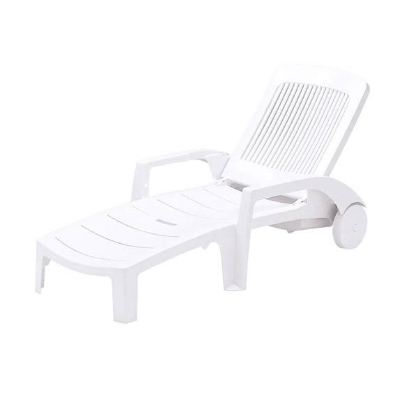 ラウンジチェア リクライニング式 樹脂製 キャスター付き ( 送料無料 寝椅子 ガーデン プール ) 【5000円以上送料無料】