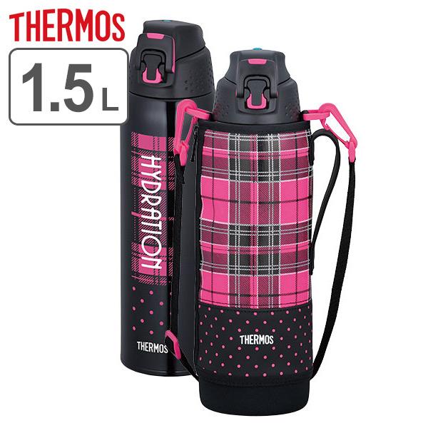 水壶膳魔师(thermos)真空隔热体育瓶1.5L FFZ-1501F(附带不锈钢瓶直喝,有1.5升1500ml大容量门的保冷专用的直接瓶按一个按钮公开肩膀肩膀皮带的保暖瓶不锈钢制造)