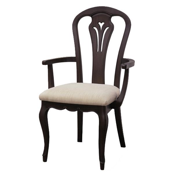 アームチェア 椅子 木製 クラシック調 フルール 座面高45cm ( 送料無料 チェア チェアー いす イス ダイニングチェアー 開梱設置 開梱設置無料 天然木 肘付き 肘掛けあり 猫脚 )【5000円以上送料無料】