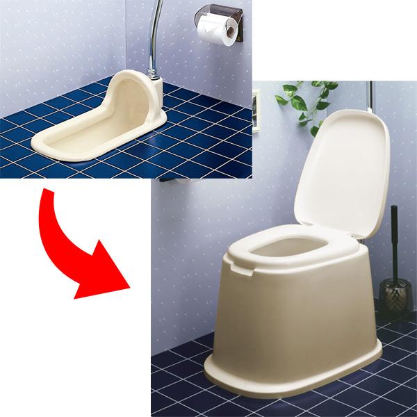 手提式厕所欧式马桶座固定型(供供护理使用的厕所福利护理排泄相关用品非常使用的简易的蜻蜓TONBO)