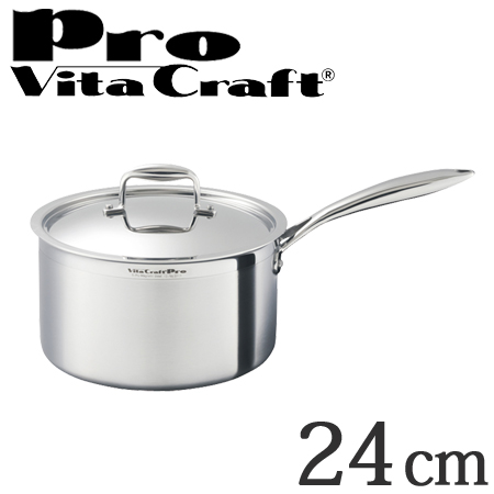 Vita Craft ビタクラフト 片手鍋 24cm プロ 6.3L No.0113 IH対応 業務用 ( 送料無料 無水調理 無油調理 VitaCraft Pro ガス火対応 大容量 リットル )