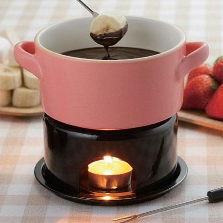 Foreign Chocolate Fondue Pot Set Dipper Pink Cheese Fondue Pot Fondue Pan Bagna Cauda