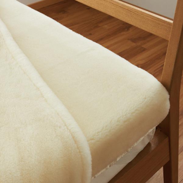 敷き毛布 メリノウール ウォッシャブル シングル 100×205cm アイボリー ( 送料無料 ブランケット 日本製 布団 寝具 洗える ) 【39ショップ】