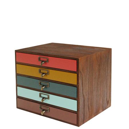 Letter Case A4 Side Five Steps Comet Comet Storing Box Drawer Wooden Paulownia Wood Materials File Case Desk Tray Drawer Antique Storage Case