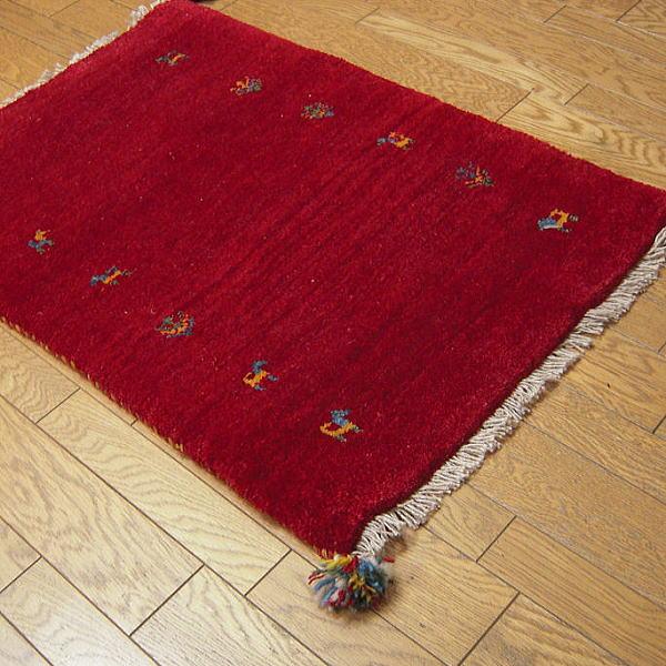 ギャベペルシャギャベギャベサイズ:約58×82cm(房入れず)レッド玄関マット