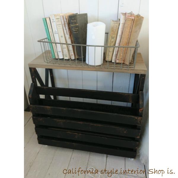 ラック 木製 本棚 サイドテーブル キャスター キャスター付き おしゃれ ベッドサイド ソファサイド インダストリアル オールドウッドカラー ブラック 錆塗装 送料無料