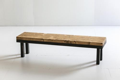 インダストリアル花台 小 長椅子 長テーブル 展示台 錆び塗装 オスモカラー 送料無料 受注制作